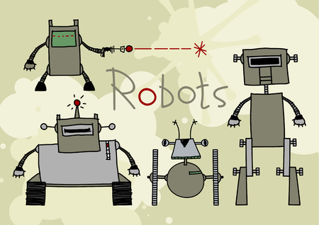 retro cartoon: Robots