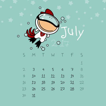 free diver: Calendar for the year 2017 - July Illustration