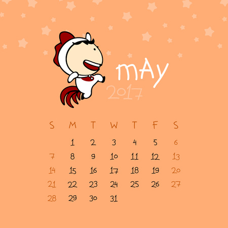 Calendar for the year 2017 - May