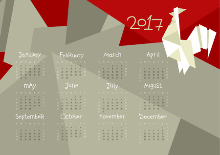origami: Calendar for the year 2017 with origami Rooster, horizontal