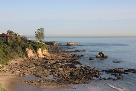Corona Del Mar Cove with rocks looking South photo
