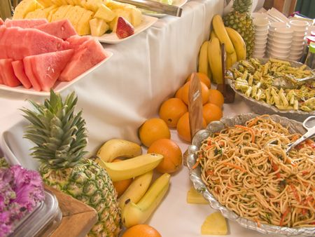 Salad and Fruit Buffet Table at Brunch