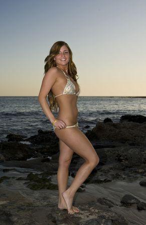 Beautiful Brunette Woman standing on rocks in a Bikini photo