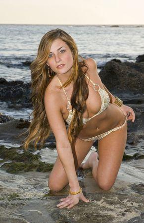 Young Brunette Woman kneeling on rocks in a Bikini photo
