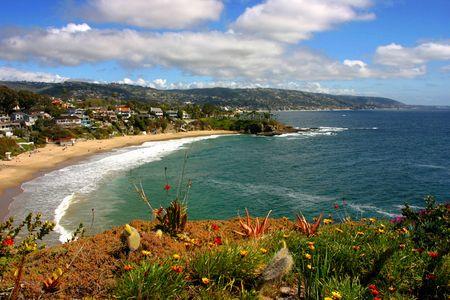 orange county: Lagina Beach Crescent Cove looking South towards Dana Point Stock Photo