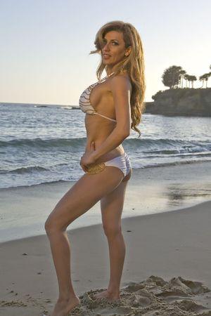 Beautiful Latina Model on the Beach in a Bikini photo