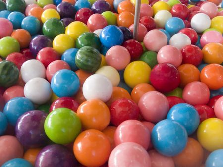 Close up of Colorful Balls in a Bubble Gum Machine Imagens - 2940510