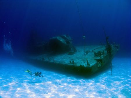 brac: Videographer filming the sunken Shipwreck Tibbits in Cayman Brac