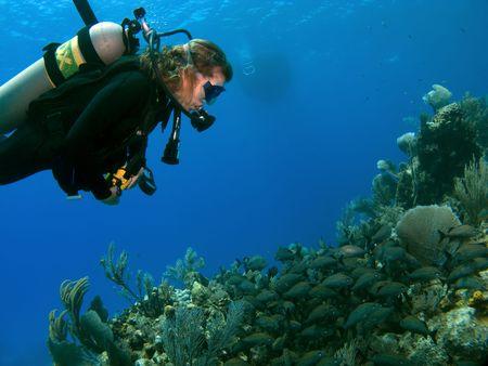 Woman Scuba Diver kijken naar een school vis op een Cayman Island Reef met Boot in de achtergrond