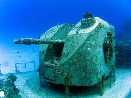 sunk: Guns on a Underwater Sunken Destroyer Stock Photo
