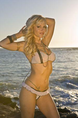See through bikini at the beach