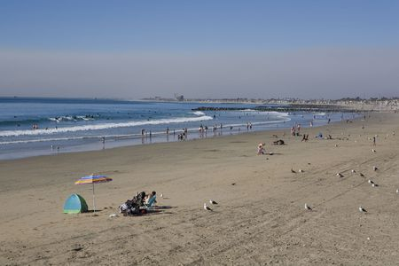 Newport Beach looking towards Huntington Beach photo