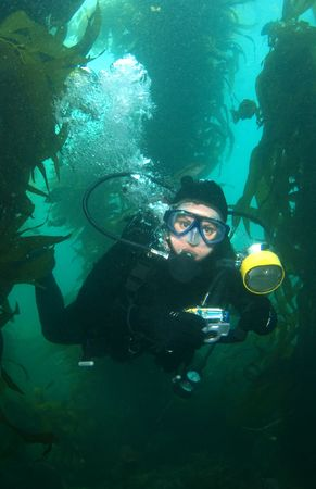 Underwater Photographer in Catalina looking into the Camera Vertical Stok Fotoğraf