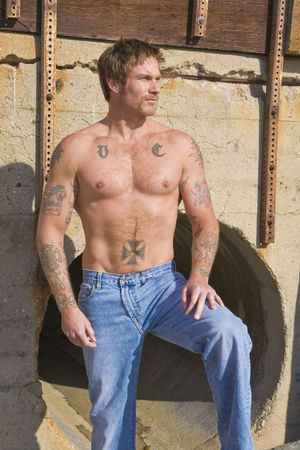 rugged man: Man with Tattoos in San Clemente