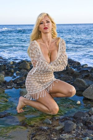 Beautiful Blonde Woman wearing a Mesh Dress in Laguna beach photo