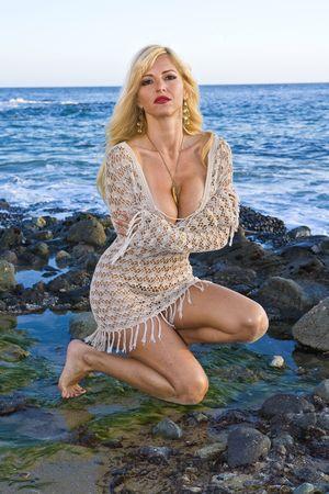 mesh: Beautiful Blonde Woman wearing a Mesh Dress in Laguna beach