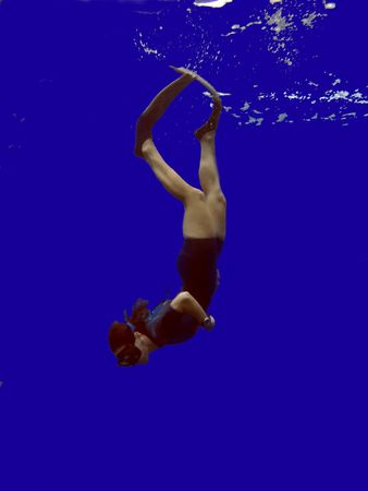 free diver: Fantasy Free Diver with Copy Space and Blue Background