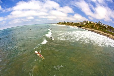 Wide Angle San Clemente Surfing from the Pier looking North photo