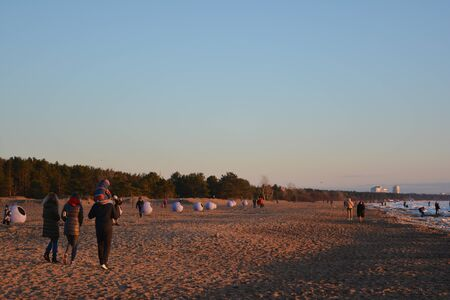 Spring Leningrad Region. Beach on the Gulf of Finland in 8 March 2020