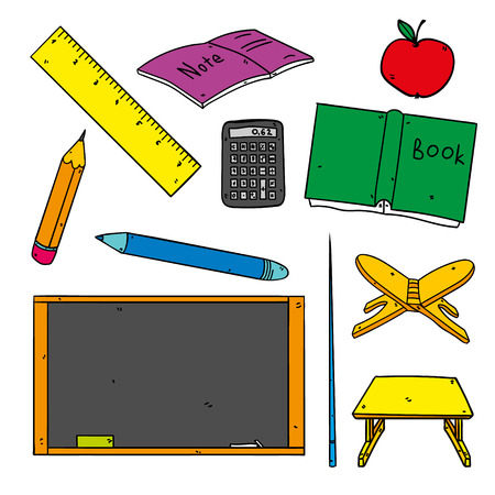 Back to school cartoon icons - school supplies set. Vector illustration of the following: pen, pencil, blackboard, book, notepad, calculator, apple and other school things