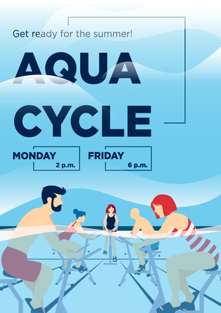 Young people doing aquacycling exercises in a pool poster.