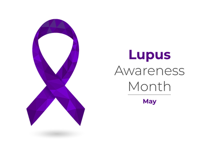 Lupus purple awareness month low poly ribbon
