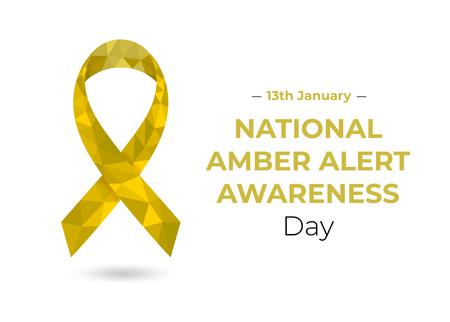 National Amber Alert Awareness low poly ribbon