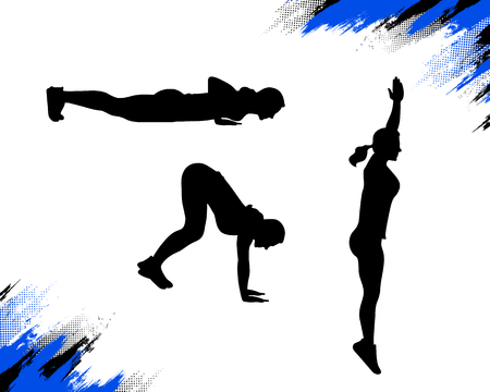 Silhouette of a woman doing burpee crossfit exercise. Vector illustration isolated on white background.