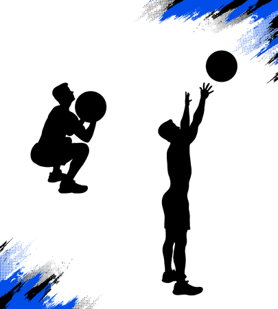 Male silhouette throwing medicine ball while his crossfit training doing the wall ball exercise. Vector illustration for web and printing.
