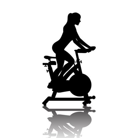Silhouette de femme sur vélo d'exercice en cours de spinning isolé sur fond blanc. Illustration vectorielle pour le web et l'impression.