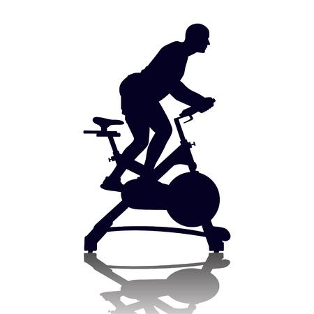 Silhouette masculine sur exercycle en classe de spinning isolé sur fond blanc. Illustration vectorielle pour le web et l'impression.