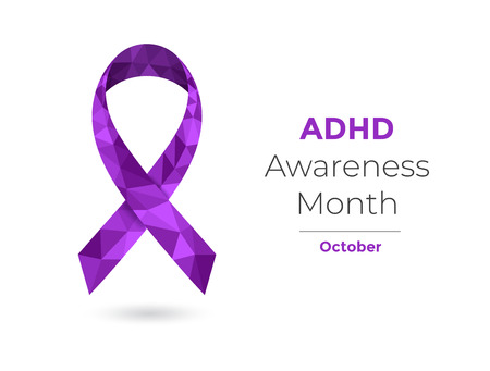 ADHD Awareness Month - October - concept with purple awareness ribbon. Colorful vector illustration for web and printing.
