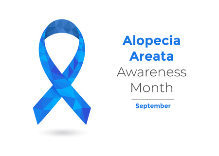 Alopecia Areata Awareness Month - September - concept with blue awareness ribbon for web and printing.