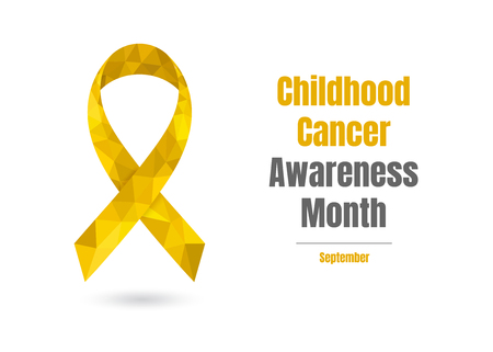 Childhood Cancer Awareness Month - October - concept with golden awareness ribbon. Colorful vector illustration for web and printing. Illustration