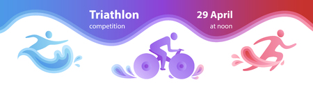 Swimming, cycling, and running triathlon milestones horizontal banner template. Colorful vector illustration for web and printing.