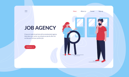 Job Agency modern first screen vector illustration tempalte with hero image.