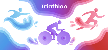Swimming, cycling, and running triathlon milestones horizontal banner template. Colorful vector illustration for web and printing. Banque d'images - 123309966