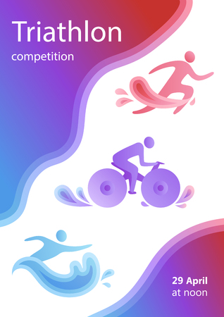 Swimming, cycling, and running triathlon milestones vertical banner template. Colorful vector illustration for web and printing.