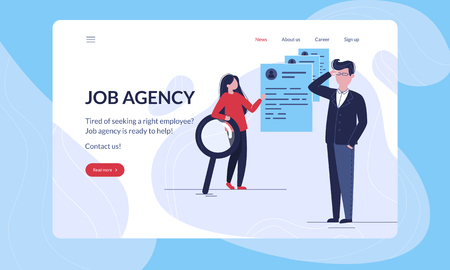 Job Agency modern first screen vector illustration tempalte with hero image, on which job agency consultant helps some company to find qualified employees.