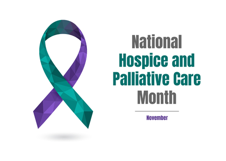 National Hospice and Palliative Care Month - November - concept with jade and purple awareness ribbon isolated on white background.