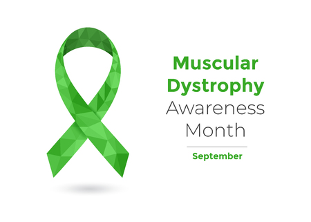 Muscular Dystrophy Awareness Month - September - concept with green awareness ribbon for web and printing.