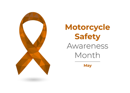 Motorcycle Safety Awareness Month - May - orange ribbon. Colorful vector illustration for web and printing isolated on white. Çizim