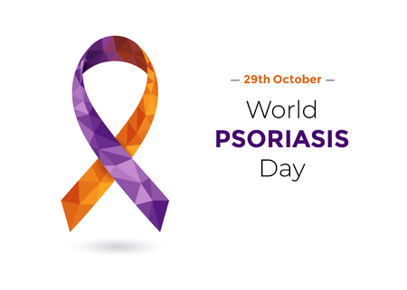 World Psoriasis Day - October 29 - concept with purple and orange awareness ribbon. Colorful vector illustration for web and printing.