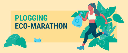 Young woman picking up litter during plogging eco-marathon. Colorful flat vector illustration for banners and web on yellow background.
