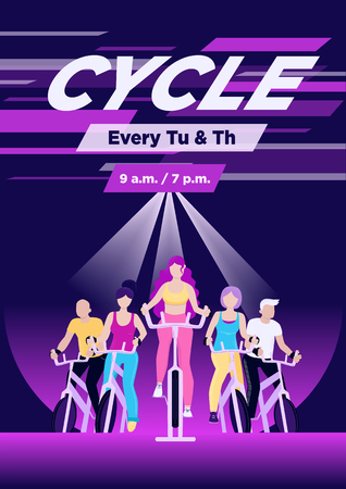 Faceless group of people on exercycles in spinning class. Colorful vector vertical illustration for web and printing. Çizim