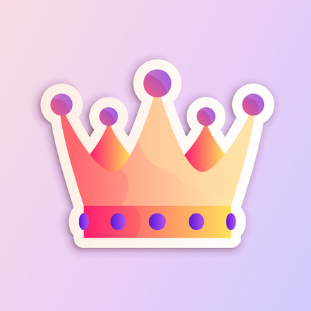 Gradient prom party crown vector illustration for websites, stickers, pins, flyers, posters, banners and invitations.