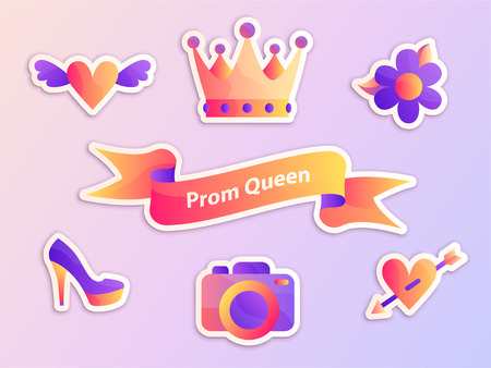 Gradient Prom Queen ribbon vector illustration web