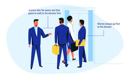 Un ouvrier junior en costume bleu marine avance vers l'ascenseur avec ses collègues seniors et une femme. Illustration vectorielle de règle d'étiquette commerciale sur fond bleu pour le web et l'impression.