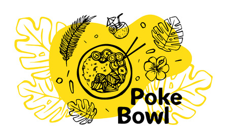 Poke Bowl Hawaiian dish with rice, fresh fish, vegetables, spices and greens. Colorful linear vector illustration for web and printing. Stock Illustratie