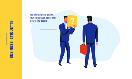 Business etiquette situation with two colleagues in navy blue suits, which illustrates an irrelevance of asking the questions about private life. Colorful vector illustration for web and printing. Illustration